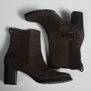Cole Haan Brown Suede Leather Stretch Boots 7